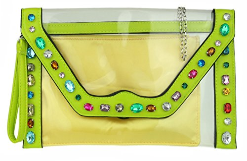 Cool New Neon Designer HandBags Color Resin Bag Green Clear Multi Diamante Neon Perspex Clutch Girly 5Eq0nHx