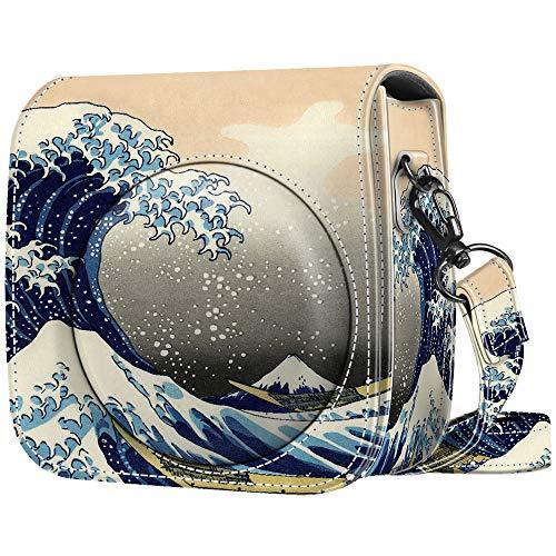 Fintie Protective Case Compatible with Fujifilm Instax Mini 9 / Mini 8 / Mini 8+ Instant Camera – Premium Vegan Leather Bag Cover w/Removable Strap, Rough Sea