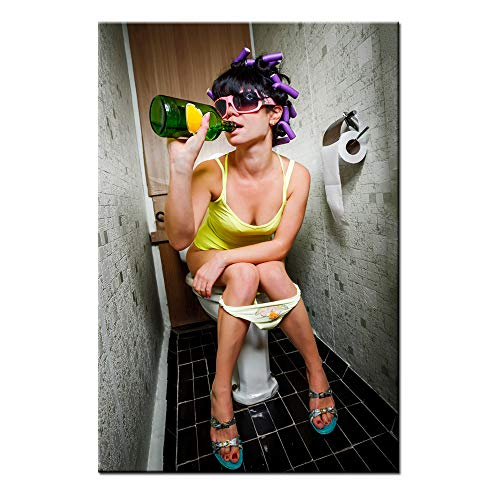 Sea Charm - Fashion Toilet Sexy Woman Canvas Print Modern Bar Girl Smoking and Drinking in Restroom Painting Picture Poster Framed for Bedroom Hotel Wall Decoration -24x36inches (girl-2) (Vintage Fashion Art)