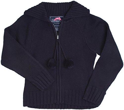 French Toast School Uniform Girls Pom-Pom Zip Up Cardigan Sweater, Navy, Medium (7/8)