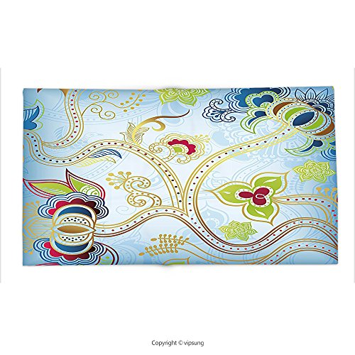 Custom printed Throw Blanket with Indian Ethnic Arabian Eastern Decor Ivy Swirls Flowers on Sky Blue Backdrop Artwork Print Multicolor Super soft and Cozy Fleece Blanket by vipsung