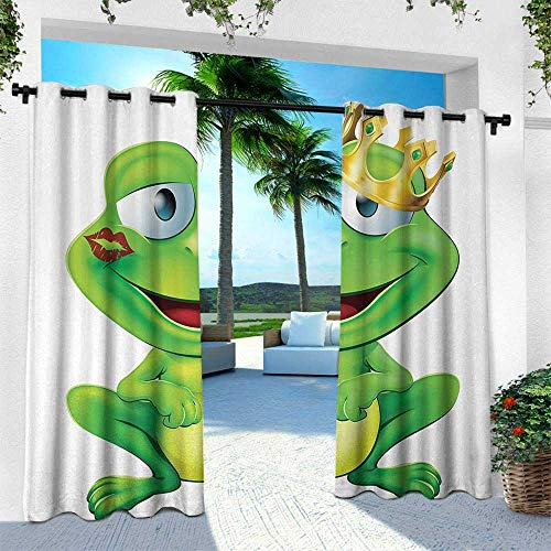 Luau Character Curtain - Hengshu Animal, Patio Curtains,Frog Prince Cartoon Character with Golden Yellow Crown Lipstick Mark on Lips Love, W84 x L84 Inch, Multicolor