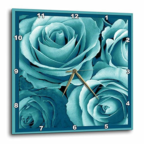 3dRose DPP_29815_2 Close Up of Dreamy Turquoise Blue Rose Bouquet-Wall Clock, 13 by 13-Inch