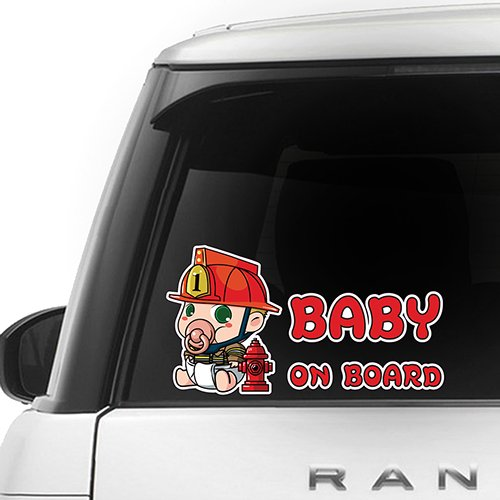 CUSTOMI Full Color Car Window Safety Sign Decal Sticker Yellow Red Brown Firefighter Baby on Board ENG-FIREFIGHTER-001