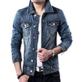 LETSQK Men's Classic Slim Fit Blue Trucker Unlined Jean Denim Jacket M