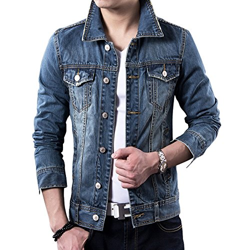 LETSQK Men's Classic Slim Fit Blue Trucker Unlined Jean Denim Jacket M Custom Denim Jacket