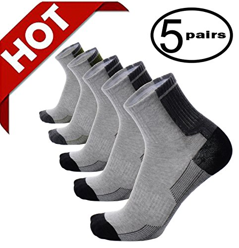 Junior Boat Kit - Mens Boys Compression Athletic Ankle Low Cut Socks Grey Gray Running Cycling Walking