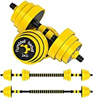 Adjustable Dumbbell Barbell Weight Pair – 44 LB Free Weights 2 - in - 1 Set with Gloves, Non-Slip Neoprene Han