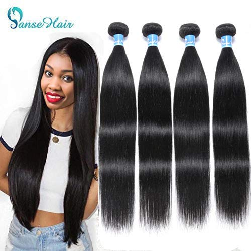 10A Peruvian Virgin Straight Human Hair Extensions 4 Bundles Silky Straight Hair Weave 100% Unprocessed Peruvian Straight Human Hair Wave Bundles (20 22 24 26 inches,400g)