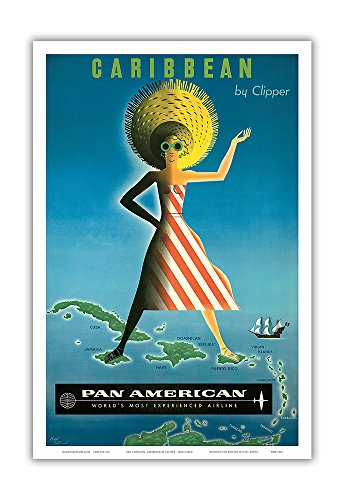 Caribbean By Clipper   Pan American Airlines  Paa    Vintage Airline Travel Poster By Jean Carlu C 1958   Master Art Print   12In X 18In