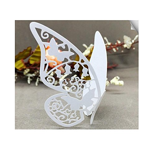 Patty Wedding Table Paper Place Card Escort Name Card Wine Glass Card for Wedding Party Decoration-50 Pcs (Butterfly White)