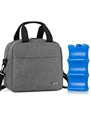 Teamoy Breastmilk Cooler Bag with Ice Pack, Travel Baby Bottle Carrier Tote Bag Fits Up to 6 Large 9 Ounce Bottles, Gray