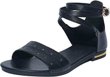 Womens Ladies Open Toe Buckle Ankle Strap Sandals Summer Casual Roman Shoes Size