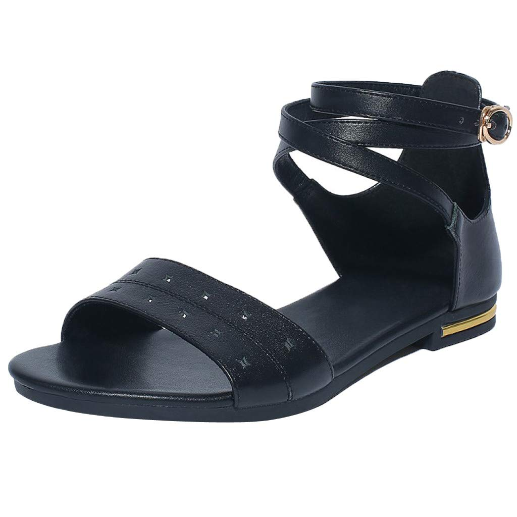 〓COOlCCI〓2019 Women's Cute Open Toes One Band Ankle Strap Flat Sandals, Metal Buckle Summer Flat Sandals for Women Black