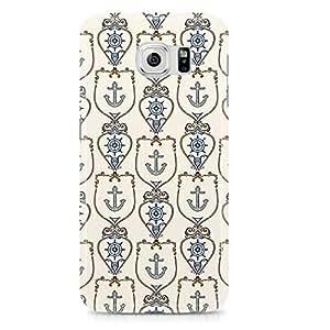 Samsung Galaxy S6 Edge Case White Nautical Pattern Naval Logo-Hard Plastic Tough Wrap Around Phone Cover