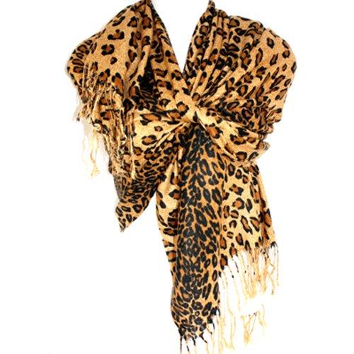 Silver Fever Pashmina-Leopard Animal Print Shawl- Stylish Soft Scarf Wrap(Coffee/Brown)