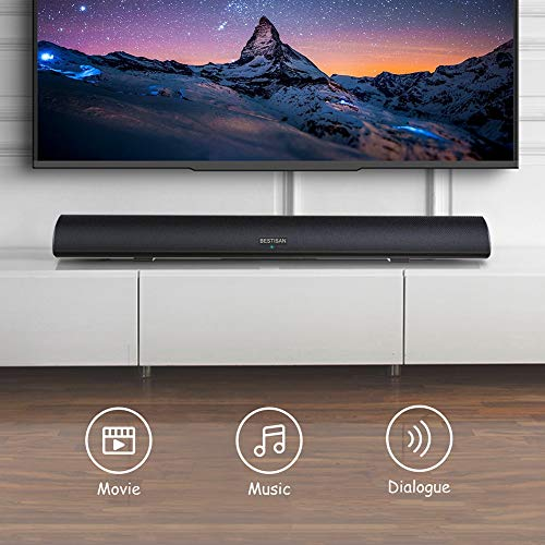 80 Watt Soundbar, BESTISAN Sound Bars for TV of Home Theater System (Bluetooth 5.0, 34 inch, DSP, Strong Bass, Wireless Wired Connections, Bass Adjustable, Wall Mountable)