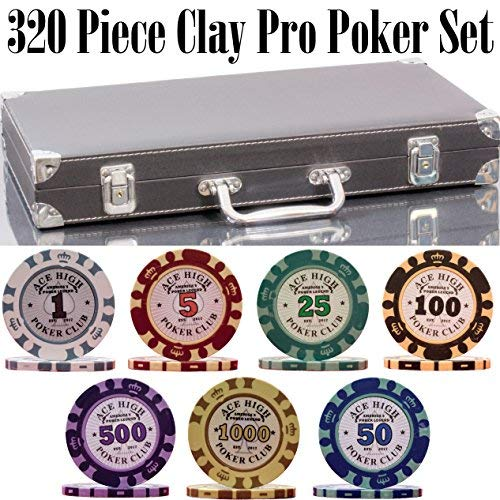 Poker Clay Pro Poker (320 Piece Clay Pro Poker Chip Set - 320 heavy weight 14g casino-quality poker chips - 2x PLASTIC CARDS with cutting cards - METAL REINFORCED leather case with wooden insert - FREE Poker Felt (Style B))