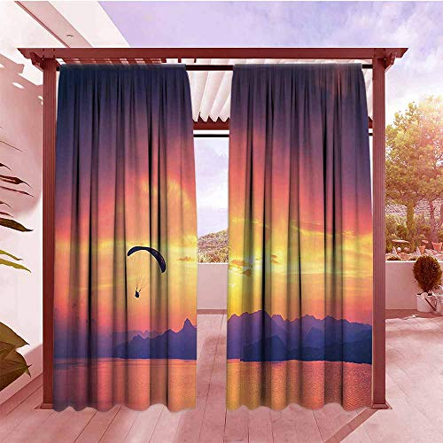 Curtain Tailored Sports Decor Paragliding Silhouette Over Sea at Sunset with Reflection of Sun Light Epic Nature Scenery Draft Blocking Draperies W108x84L Orange