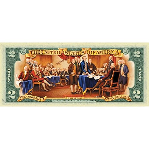 Colorized Collectible $2 Bill - History in Living (Keepsake Dollar Bill)