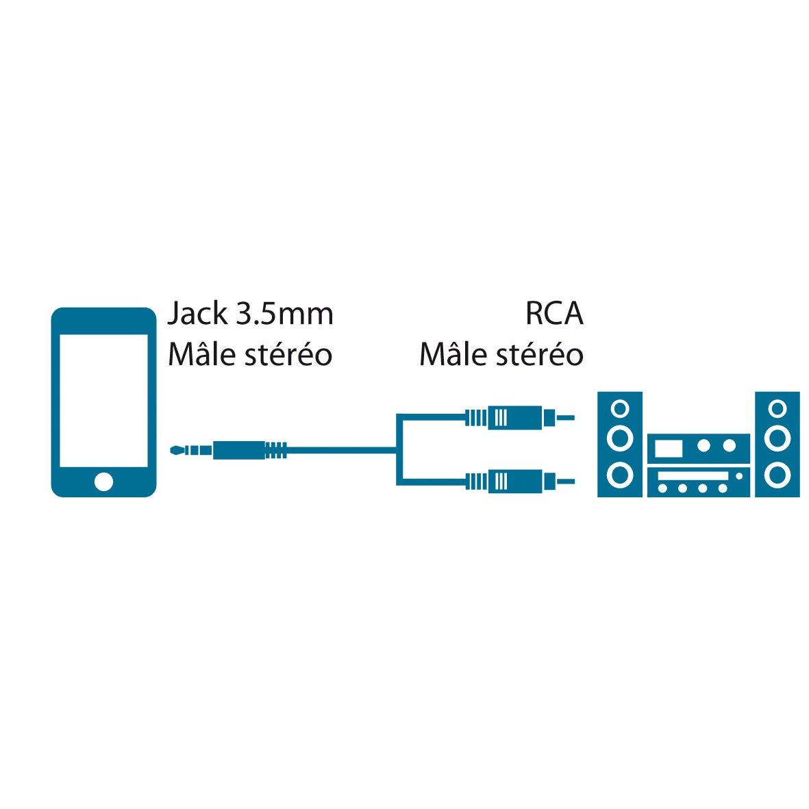 MCL MC720-2.5M cable de audio 2,5 m 2 x RCA Negro Cables de audio 2 x RCA, 2,5 m, Negro