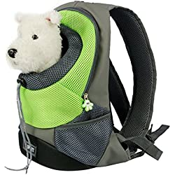 Goodid mochila bolsa bolso hombro para llevar mascotas gatos y perros a salir y viajar con abertura (Verde, 37*26*13cm)
