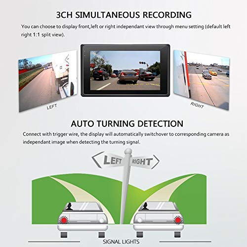 Vsysto Backup Camera 1080P VGA VGA 3CH Waterproof Lens Dash cam for truck bus trailer cars tractor van 5th Wheel DVR Camera Recording System with, 3.0 Inch Monitor
