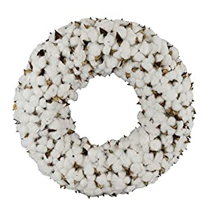Cotton Wreath With Burlap Bow For Rustic Farmhouse Decor - 18 inches 5