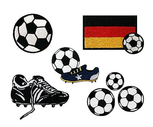 Mono-Quick 322 Aufbügelbilder Fußball Set, 5 teilig, Fußballmotive, 2,0 x 2,0 cm, bis 7,5 x 5,0 cm, Polyester, Stickerei aus Viskosegarn