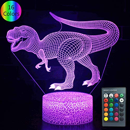 YOUNSH Dinosaur lamp, Dinosaur Night Light Bedside Lamp 16 Color Changing with Touch & Remote Control for Kids Lamps as Birthday Gifts for Boys