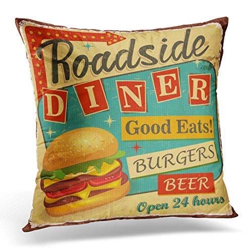 Breezat Throw Pillow Cover 1950S Vintage Roadside Diner Metal Sign Burger Retro Decorative Pillow Case Home Decor Square Pillowcase 51hW4lmYaPL