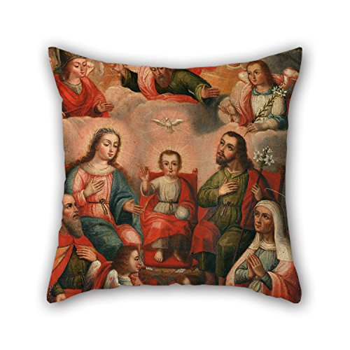 Oil Painting Anonymous Cusco School - The Family Of Christ Child With The Imprisoned Soul Of Divine Love Throw Pillow Case 18 X 18 Inches / 45 By 45 Cm Gift Or Decor For Dining Room,drawing Room,bench,boys,bar,floor - Each Side