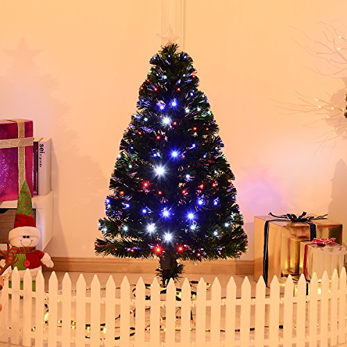 4' Artificial Holiday Fiber Optic Light Up Christmas Tree - Green