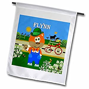 SmudgeArt Male Child Name Design - Decorative Bear Wearing Overalls with the name Flynn - 12 x 18 inch Garden Flag (fl_50019_1)