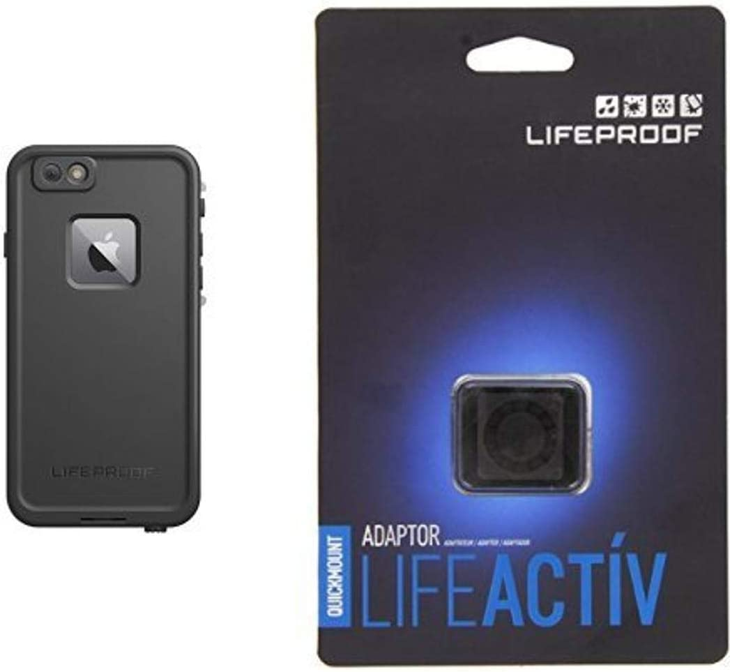 "Lifeproof FRE SERIES iPhone 6 Plus/6s Plus Waterproof Case (5.5"" Version) - Retail Packaging - BLACK and Lifeproof LifeActiv Quickmount Adapter - Mount - Retail Packaging - Black Bundle"
