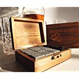 Reusable Granite Whiskey Stones Set: 9 Rocks to Chill Glass of Bourbon, Scotch, or Whisky Without Ice Cubes - Chilling Stone Won't Water Down Glasses of Liquor - Alcohol Accessories/Presents for Men