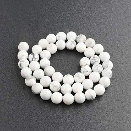 Pink Daisy Tourmaline - Mikash Natural Stone Sea Sediment Gemstone Round Beads DIY Bracelets 15 4mm 6mm 8mm | Model BRCLT - 7548 | Bright White + black-8mm