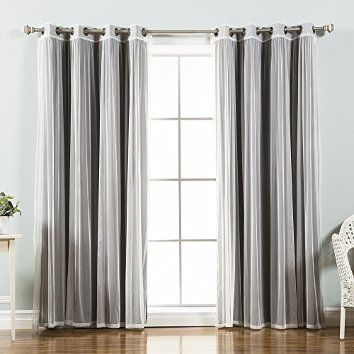 "Best Home Fashion Mix & Match Tulle Sheer Lace & Blackout Curtain Set - Antique Bronze Grommet Top - Dark Grey - 52""W X 96\""L - (2 Curtains and 2 Sheer curtains)"