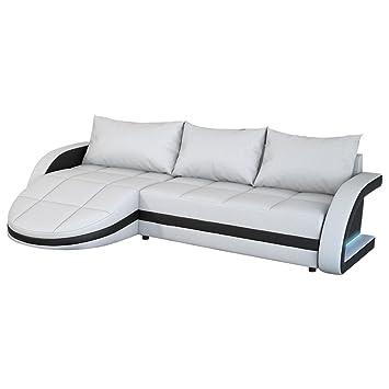 Eck Sofa Weiss Schwarz In Leder Optik Edle Designer Couch Mit Led
