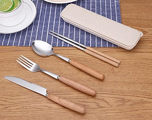 1 Set (4 Pcs/Set) Stainless Steel Cutlery Smooth Silver Fork Knives Wooden Handle Forks Professional Coffee Latte Tea Ice Cream Sundae Dessert Soup Teaspoon Important Popular Pocket Spoons Tools Kit