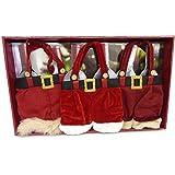 Santa Pants 2 Bottle Wine Tote, Pack of 3