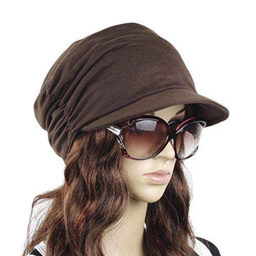 Women's Fashion Drape Layers Slouch Beret Beanie Soft Brim Newsboy Hat Visor Cap - Mens Hat Beret With Brim
