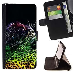 BullDog Case - FOR/Samsung Galaxy S4 Mini i9190 / - / leopard spots dots big cat wild neon art /- Monedero de cuero de la PU Llevar cubierta de la caja con el ID Credit Card Slots Flip funda de cuer