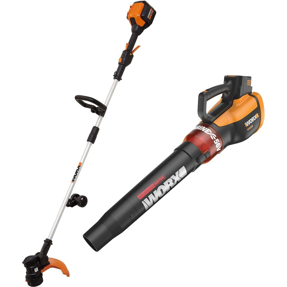 WORX WG926 2 Piece Cordless Combo Kit Trimmer/Edger and Turbine Blower, 56V, Battery and Charger Included