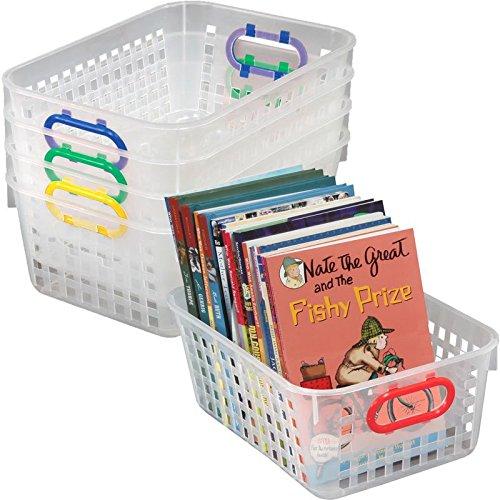 [해외]정말 좋은 물건 다용도 지우기 스토리지 바구니 - 11 x 7.5 - 기본 색상 핸들 - 4 개 세트/Really Good Stuff Multi Purpose Clear Storage Baskets - 11 x 7.5  - Primary Color Handles -Set of 4