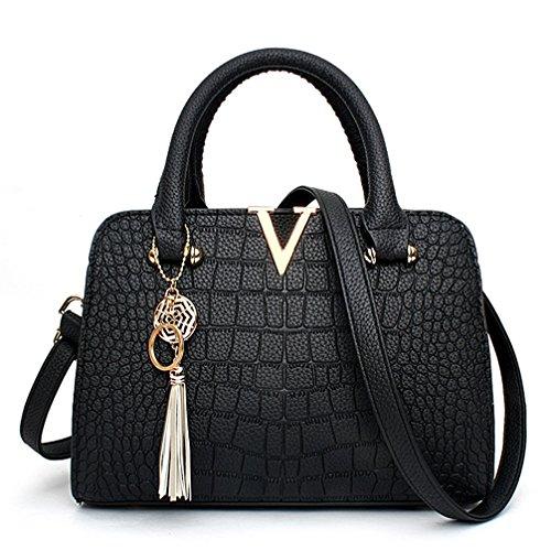 Black Ladies 2 Purses Satchel Shoulder Bag Womens Handbags Crossbody COCIFER Bags and Tote TwOCIqxP