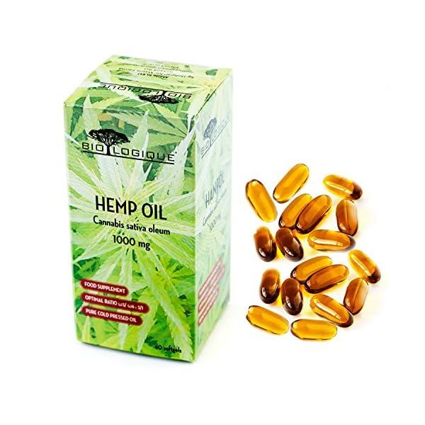 HEMP OIL 1000mg, pure cold pressed oil, optimal ratio omega-6/omega-3 : 3/1, nature's most balanced oil for human nutrition, 40 softgel capsules