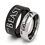 His and Hers Rings, His Beauty Her Beast Ring, Personalized Engrave Tungsten Ring, Couples Ring Set TCR402 (With Inside Engraving)