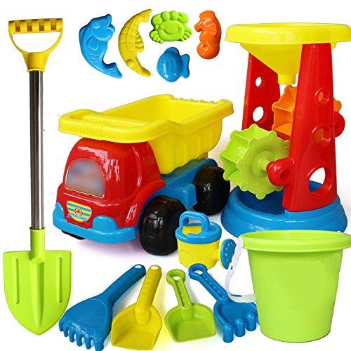 VGHJK Children's Beach Toy Set Car Boy And Girl Play Trickle Barrel Baby Digging Sand Shovel Shovel Playing Sand Toy Bath Toys (random Colors),G by VGHJK