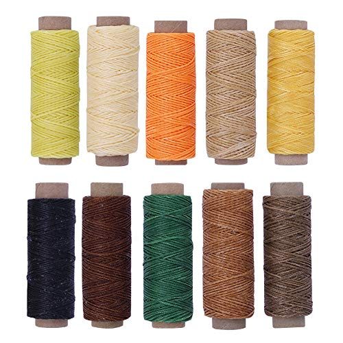 (BUTUZE 550Yards Leather Sewing Waxed Thread - 150D 55Yards Per Spool Stitching Thread for Leather Craft DIY/Bookbinding/Shoe Repairing/Leather Projects)